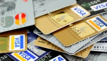 credit cards scattered
